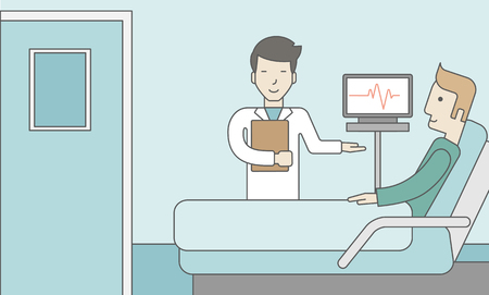 A smiling asian doctor visits a caucasian patient lying on bed in hospital ward, a monitor showing his heartbeat stands nearby.  Vector line design illustration. Horizontal layout with a text space for a social media post.