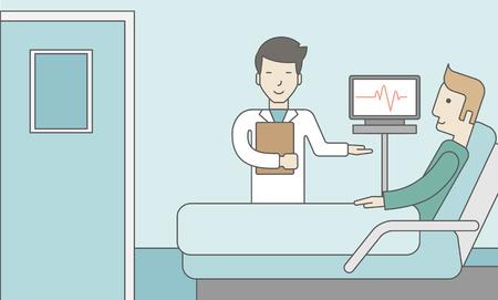 Un medico asiatico sorridente visita un paziente caucasica disteso sul letto in reparto ospedaliero, un monitor che mostra il suo battito cardiaco si trova nelle vicinanze. Design illustrazione linea vettoriale. Layout orizzontale con uno spazio di testo di un supporto posto sociale.