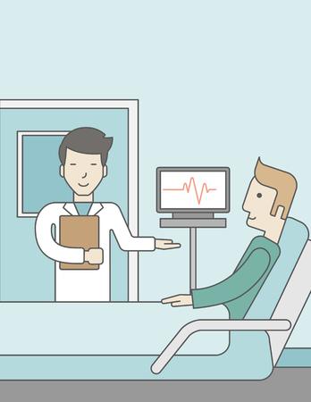 웃는 아시아 의사는 병원 병동에서 침대에 누워 있으면 백인 환자를 방문 하 고 그의 하트 비트를 보여주는 모니터 근처에 의미합니다. 벡터 라인 디자