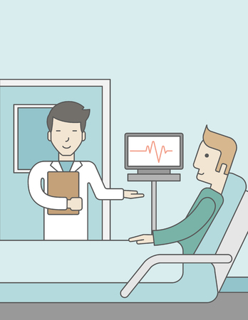 hospital ward: A smiling asian doctor visits a caucasian patient lying on bed in hospital ward, a monitor showing his heartbeat stands nearby.  Vector line design illustration. Vertical layout with a text space for a social media post.