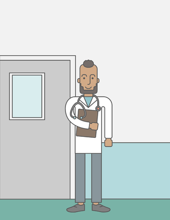african cartoon: A happy african-american doctor with beard standing with stethoscope and a file on a hospital wall background.  Vector line design illustration. Vertical layout with a text space for a social media post.