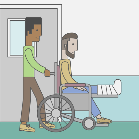 sprain: An african-american man carrying a patient with broken leg in the wheelchair. Vector line design illustration. Square layout.