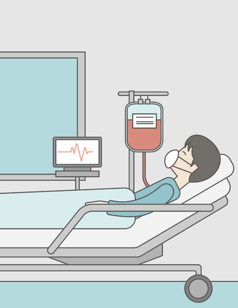 lying in bed: An asian patient lying in hospital bed with heart rate monitor and drop counetr. Vector line design illustration. Vertical layout with a text space for a social media post. Illustration