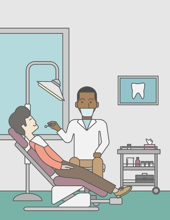 dentist: An african-american dentist examines a patient teeth in the clinic. Vector line design illustration. Vertical layout with a text space for a social media post. Illustration