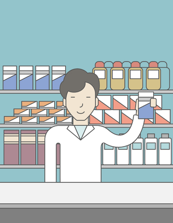 druggist: An asian pharmacist standing at the counter in a pharmacy and showing some medicine. Vector line design illustration. Vertical layout with a text space for a social media post.