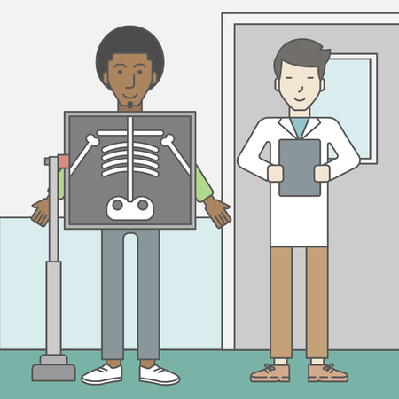 radiograph: An african-american patient during an x-ray procedure and an asian doctor holding a radiograph. Vector line design illustration. Square layout.