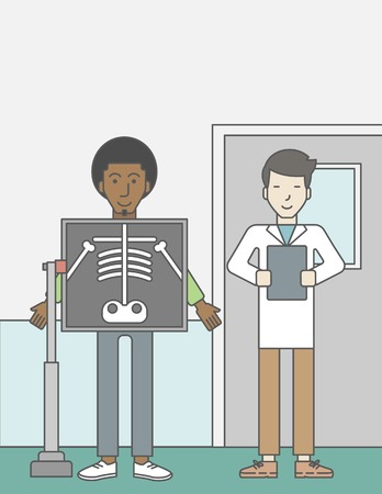 bones cartoon: An african-american patient during an x-ray procedure and an asian doctor holding a radiograph. Vector line design illustration. Vertical layout with a text space for a social media post.
