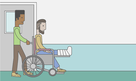 An african-american man carrying a patient with broken leg in the wheelchair. Vector line design illustration. Horizontal layout with a text space for a social media post. Vettoriali
