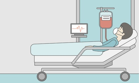 An asian patient lying in hospital bed with heart rate monitor and drop counetr. Vector line design illustration. Horizontal layout with a text space for a social media post.