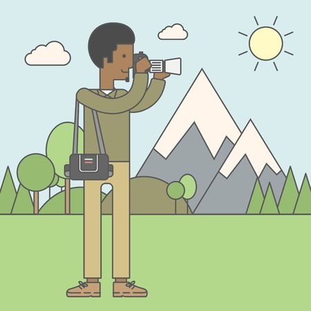 taking photo: An african-american photographer taking photo in mountains. Vector line design illustration. Square layout.