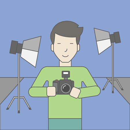 A smiling asian photographer holding a camera and standing inside the studio. Vector line design illustration. Square layout. Stok Fotoğraf - 46898280