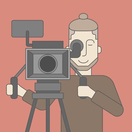 cameraman: A caucasian cameraman with beard looking through movie camera on a tripod. Vector line design illustration. Square layout.