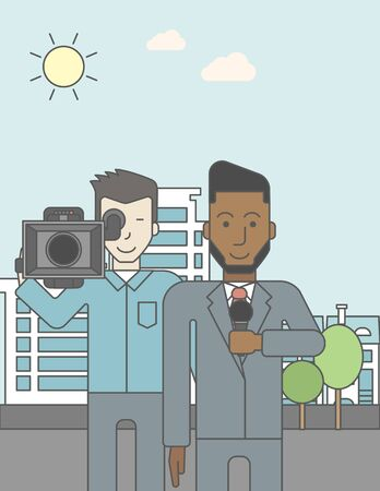 filming: An asian cameraman filming an african-american reporter with beard on a city backgroung. Vector line design illustration. Vertical layout with a text space for a social media post.
