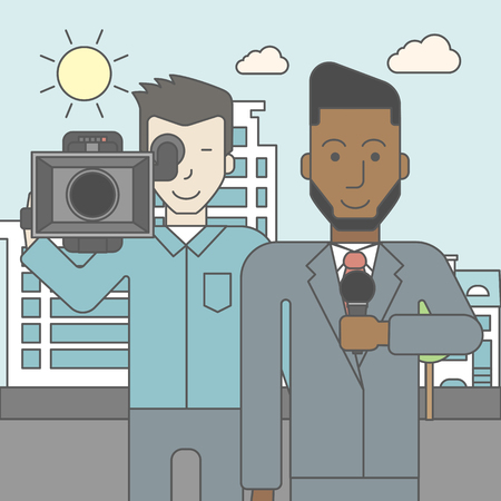 filming: An asian cameraman filming an african-american reporter with beard on a city backgroung. Vector line design illustration. Square layout. Illustration