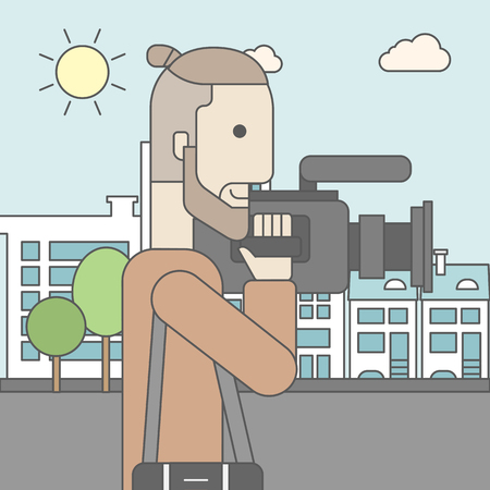 taking video: A caucasian hipster cameraman with video camera taking a video on a city backgroung. Vector line design illustration. Square layout. Illustration