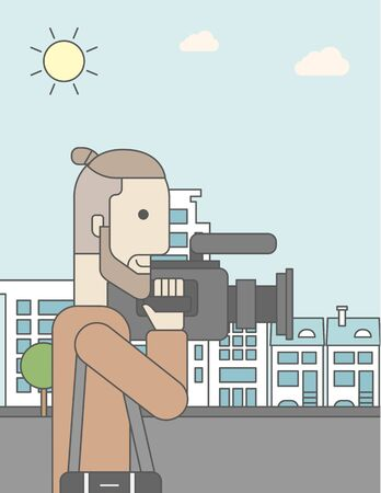 cameraman: A caucasian hipster cameraman with video camera taking a video on a city backgroung. Vector line design illustration. Vertical layout with a text space for a social media post. Illustration