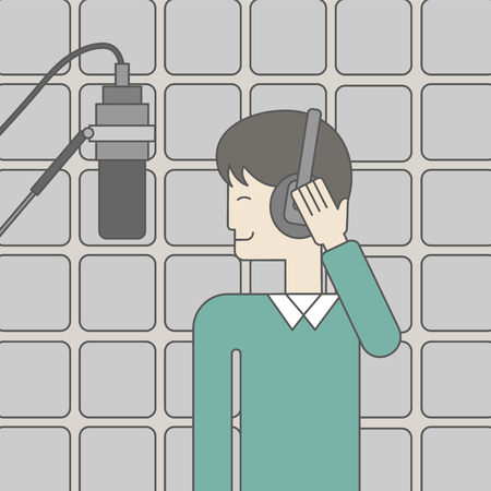vocalist: A cheerful asian singer in studio makes a record of his voice in microphone. Vector line design illustration. Square layout. Illustration