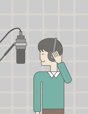 A cheerful asian singer in studio makes a record of his voice in microphone. Vector line design illustration. Vertical layout with a text space for a social media post. Vettoriali