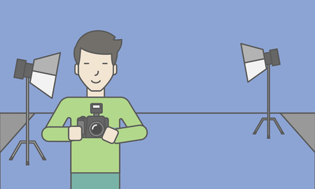 A smiling asian photographer holding a camera and standing inside the studio. Vector line design illustration. Horizontal layout with a text space for a social media post. Stok Fotoğraf - 46896363