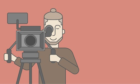 looking for: A caucasian cameraman with beard looking through movie camera on a tripod. Vector line design illustration. Horizontal layout with a text space for a social media post.