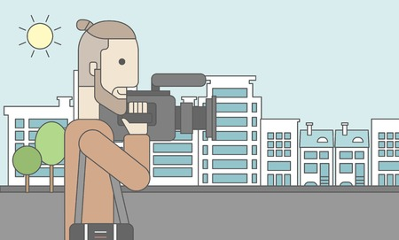 filming: A caucasian hipster cameraman with video camera taking a video on a city backgroung. Vector line design illustration. Horizontal layout with a text space for a social media post.