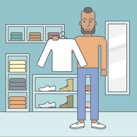 manager: An african-american man holding a sweater in hand in the store. Vector line design illustration. Square layout.