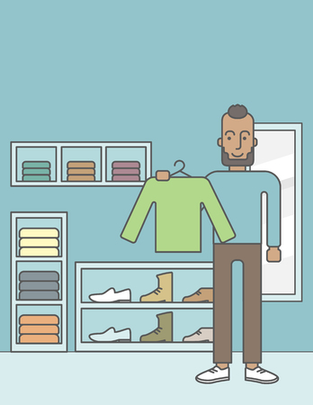 choosing clothes: An african-american man holding a sweater in hand in the store.  Vector line design illustration. Vertical layout with a text space for a social media post.