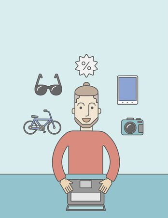 A caucasian hipster man with beard sitting in front of laptop and some icons of goods around him, symbolizing on-line shopping. Vector line design illustration. Vertical layout with a text space for a social media post. Illustration