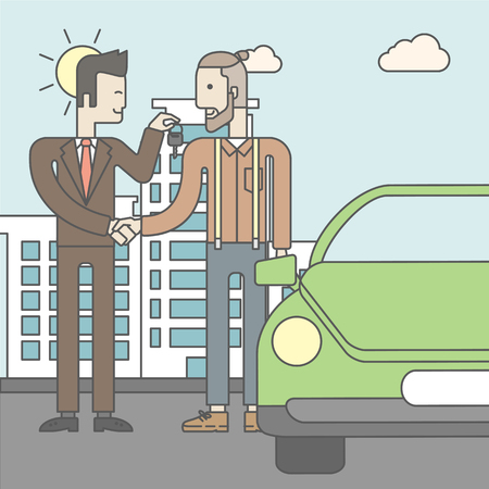 owner: An asian car salesman giving the car keys to a new owner on city background. Vector line design illustration. Square layout. Illustration