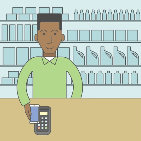 using smartphone: An african-american customer paying with his smartphone using terminal. Vector line design illustration. Square layout.