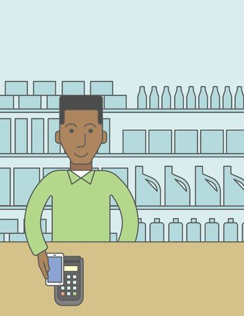 using smartphone: An african-american customer paying with his smartphone using terminal. Vector line design illustration. Vertical layout with a text space for a social media post.