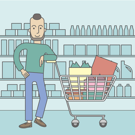 caucasian: A caucasian hipster man with beard leaning on a supermarket cart full of goods. Vector line design illustration. Square layout. Illustration