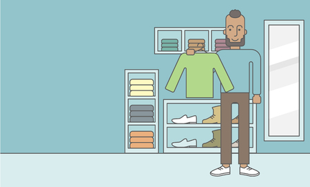 choosing clothes: An african-american man holding a sweater in hand in the store.  Vector line design illustration. Horizontal layout with a text space for a social media post. Illustration