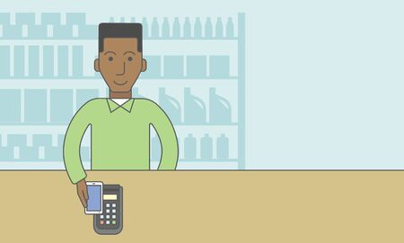 using smartphone: An african-american customer paying with his smartphone using terminal. Vector line design illustration. Horizontal layout with a text space for a social media post.