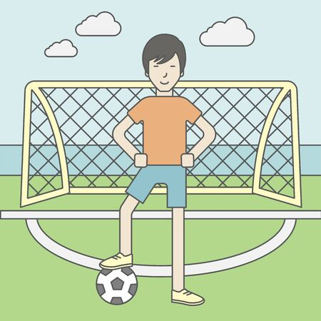 An asian football player standing with ball on the field of stadium in front of gate. Vector line design illustration. Square layout.