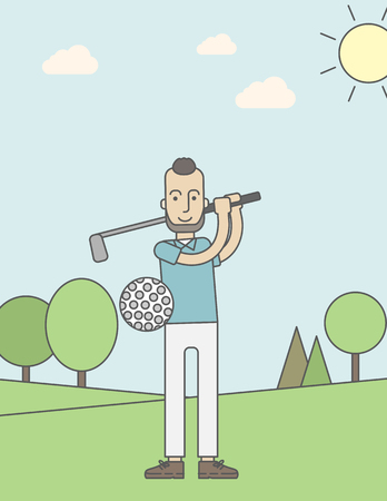 golfer swinging: A caucasian golf player with beard hitting the ball in the field. Vector line design illustration. Vertical layout with a text space for a social media post.