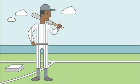 An african-american baseball player standing with a bat in a field. Vector line design illustration. Horizontal layout with a text space for a social media post.