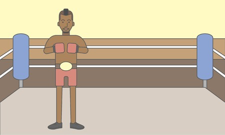 Single an african-american boxer in gloves standing in the ring. Vector line design illustration. Horizontal layout with a text space for a social media post. 矢量图像