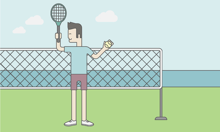 racquet: Tennis player standing with racquet and ball in hands at the net. Vector line design illustration. Horizontal layout with a text space for a social media post.