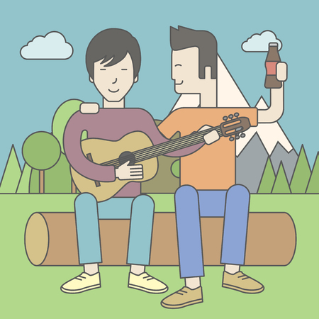 bestfriend: Two happy asian men sitting on a log playing a guitar. Vector line design illustration. Square layout.