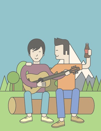 bestfriend: Two happy asian men sitting on a log playing a guitar. Vector line design illustration. Vertical layout with a text space for a social media post.