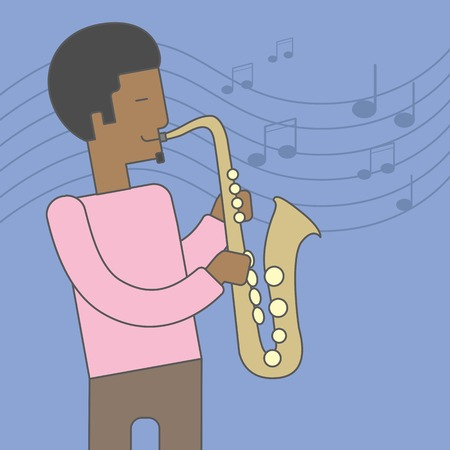 soloist: A smiling african-american musician playing saxophone on blue background with notes. Vector line design illustration. Square layout.