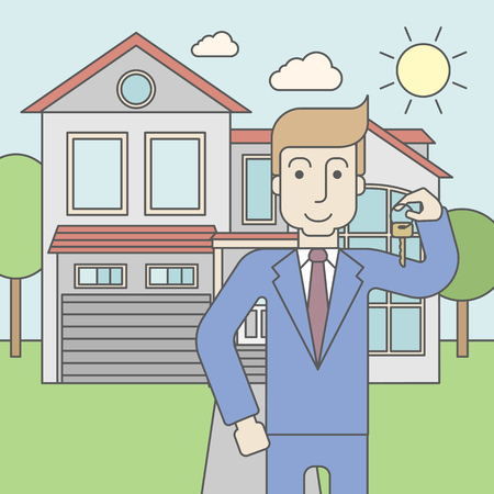 caucasian: A caucasian real estate agent holding key on house background. Vector line design illustration. Square layout.