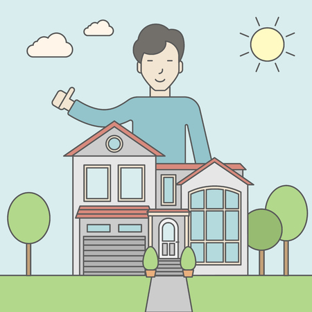 real estate agent: An asian real estate agent standing behind the house with thumbs up. Vector line design illustration. Square layout.