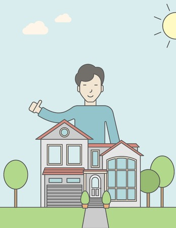 standing in line: An asian real estate agent standing behind the house with thumbs up. Vector line design illustration. Vertical layout with a text space for a social media post. Illustration