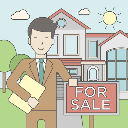 real estate agent: An asian real estate agent holding the document and placard for sale on house background. Vector line design illustration. Square layout.