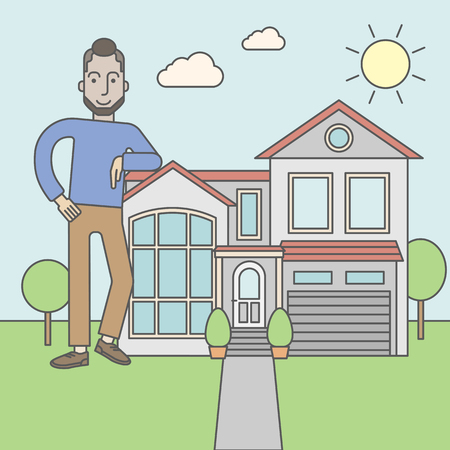 offering: A caucasian real estate agent with beard standing and offering the house. Vector line design illustration. Square layout. Illustration