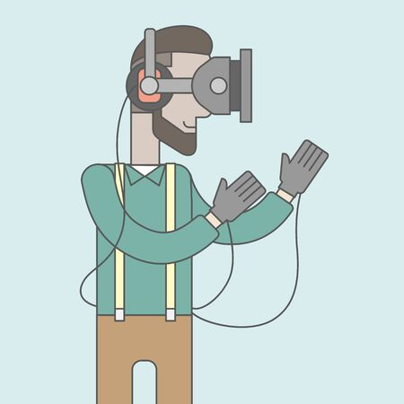 A caucasian hipster man with beard wearing a virtual relaity headset. Vector line design illustration. Square layout.