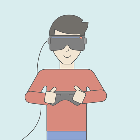 An asian man wearing a virtual relaity headset with remote control. Vector line design illustration. Square layout.