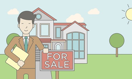 condo: An asian real estate agent holding the document and placard for sale on house background. Vector line design illustration. Horizontal layout with a text space for a social media post.
